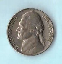 1961 D Jefferson Nickel - Circulated - Light Wear - About XF - $2.45