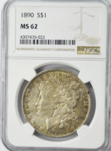 1890 $1 Morgan Silver One Dollar Uncirculated MS62 NGC Philadelphia - $64.34