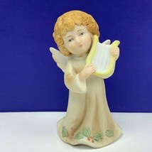 Angel figurine vintage porcelain sculpture Christmas Lefton 05636 bethle... - $19.60