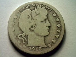 1913-S BARBER QUARTER DOLLAR GOOD G NICE ORIGINAL COIN KEY DATE FROM BOB... - $1,800.00