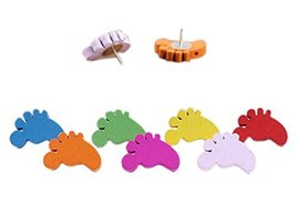 50Pieces Cute Feet Wooden Push Pins Decorative Board Tacks Utility Icons