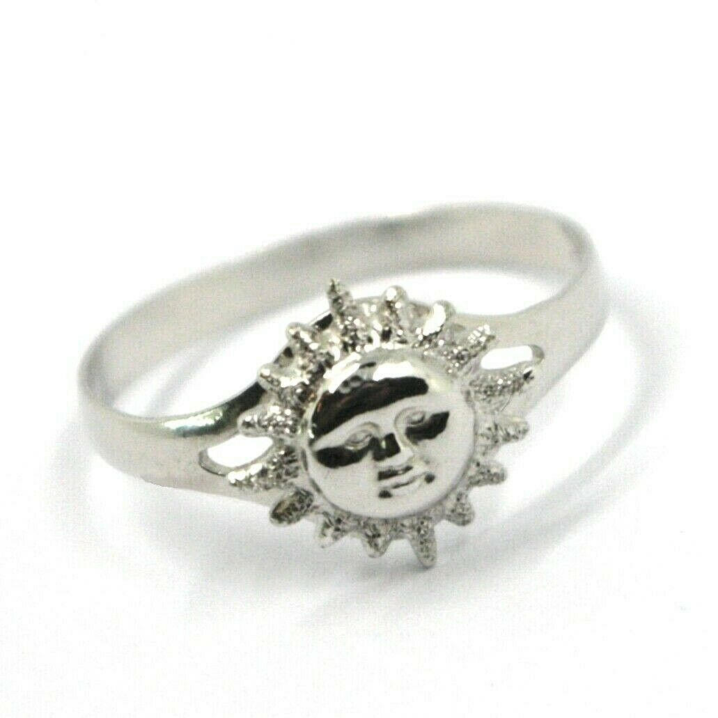 SOLID 18K WHITE GOLD SUN RING, SATIN AND SMOOTH, SUN WITH RAYS