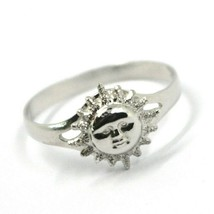 SOLID 18K WHITE GOLD SUN RING, SATIN AND SMOOTH, SUN WITH RAYS image 1