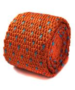 Frederick Thomas gestrickt Orange und hellblau gepunktet Krawatte ft1198 - $24.38
