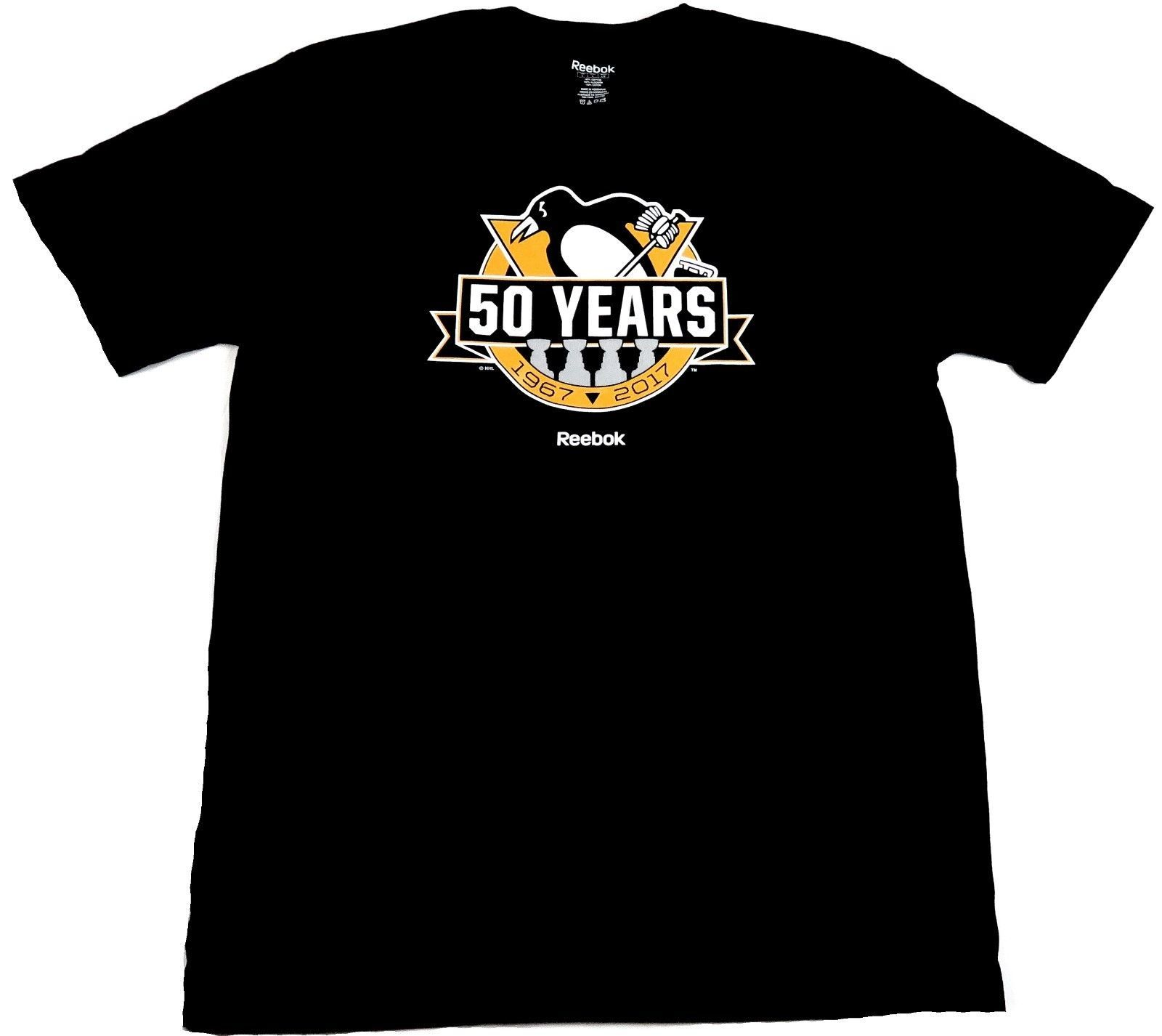 Men's Pittsburgh Penguins Shirt 50 Years Anniversary Tee 1967-2017 4x Cup Champs