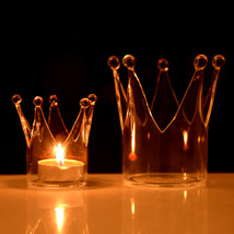 Crown Glass Candle Holder Candelabrum Candle Stick Candle Light Dinner Home Wedd - $11.98