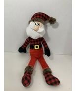 plush dog toy Santa Claus Christmas red black plaid shirt ribbed pants s... - $4.94