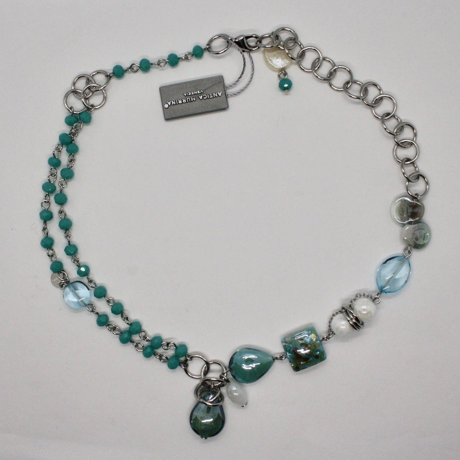 NECKLACE ANTICA MURRINA VENEZIA WITH MURANO GLASS TURQUOISE BLUE BEIGE COA80A07