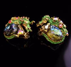 Har earrings / Dragon clip on set / Lava glass earrings / Vintage signed set / - $455.00