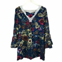 Umgee Womens Top Tunic Blue Floral Lace Neck Bell Sleeve Cotton Blend Sz... - $18.65