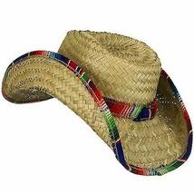 Adulte Fiesta Paume Paille Saltillo Serape Garniture Mexicain Cowboy Cha... - $12.58
