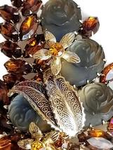Vintage Molded Glass Rose and Topaz Rhinestone Brooch, Vintage Floral Pin image 4