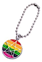 Rainbow LGBT Gay Pride Pagan Pride Rainbow Pentacle Keyring Chain Enameled - $5.48