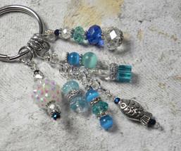 Fish Beach Crystal Glass Beaded Handmade Keychain Split Key Ring Blue Si... - $18.42