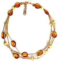 ROSE NECKLACE MULTI WIRES TUBE ORANGE DROP SPHERE PETALS MURANO GLASS ITALY MADE image 2