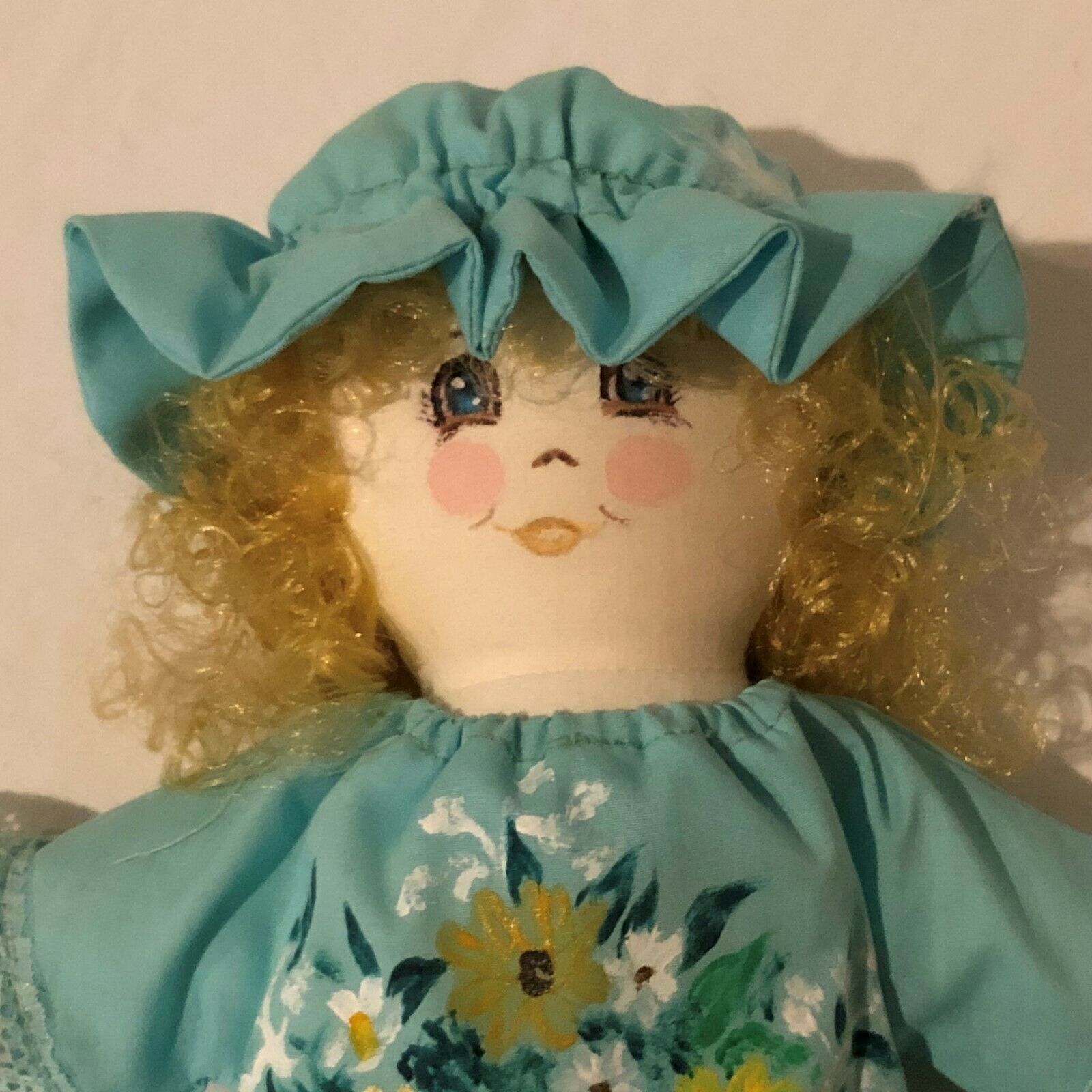 Primary image for Handmade Cloth Rag Doll Vintage Stuffed Wall Hanging Decor Homemade Painted Gown