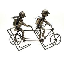 Metal Sculpture Tandem Bicycle Built for Two Wine Bottle Holder Boy Girl - $39.88