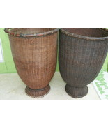 2 Rare Old Asian Collectible Open Weave Storage Rattan Baskets Borneo Ve... - $246.99