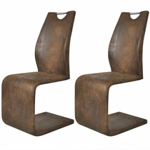 Set of 2 Cantilever Brown Dining Chair Kitchen Seats Backrest Artificial... - $123.99