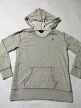 Ralph Lauren Girls L 12 14 Heather Gray Purple Hoodie Sweatshirt Kangaro... - $14.99