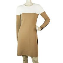 DVF Diane Von Furstenberg Merinos Wool Knit Beige Black Mini Dress Sz S - $153.45