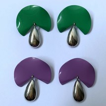 Vintage 80s Dangle Earrings Lot Purple Green Enamel Metal Pierced Funky - $16.79