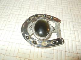 Vintage 1970s Silvertone w/ Green Stone Horseshoe Western & Cowboy Belt ... - $14.85