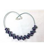 Necklace Women Large Handmade Bead Woven Spiral Purple Blue - $75.00