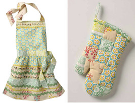 Anthropologie Sewing Basket Apron + Matching Over Mitt Whimsical Cotton ... - £64.02 GBP
