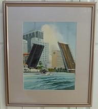 Cuban Artist ANTONIO MORENO PEÑALVER Watercolor Painting Miami Brickell ... - $299.00