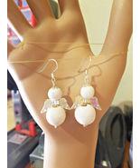 Guardian Angel Bead earrings white dangle drop plastic wood handmade jew... - $5.99