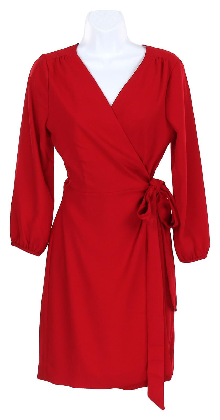 Primary image for J Crew Women's Wrap Dress in 365 Crepe Wear to Work Career Red Sz 14 H6292