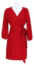J Crew Women's Wrap Dress in 365 Crepe Wear to Work Career Red Sz 14 H6292 - $73.59