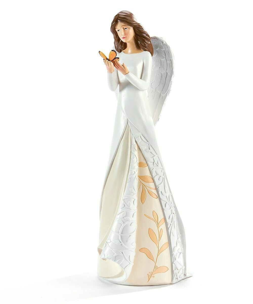 "20""  Angel with Butterfly in Hand with White Wings Elegant Statue Polyresin"