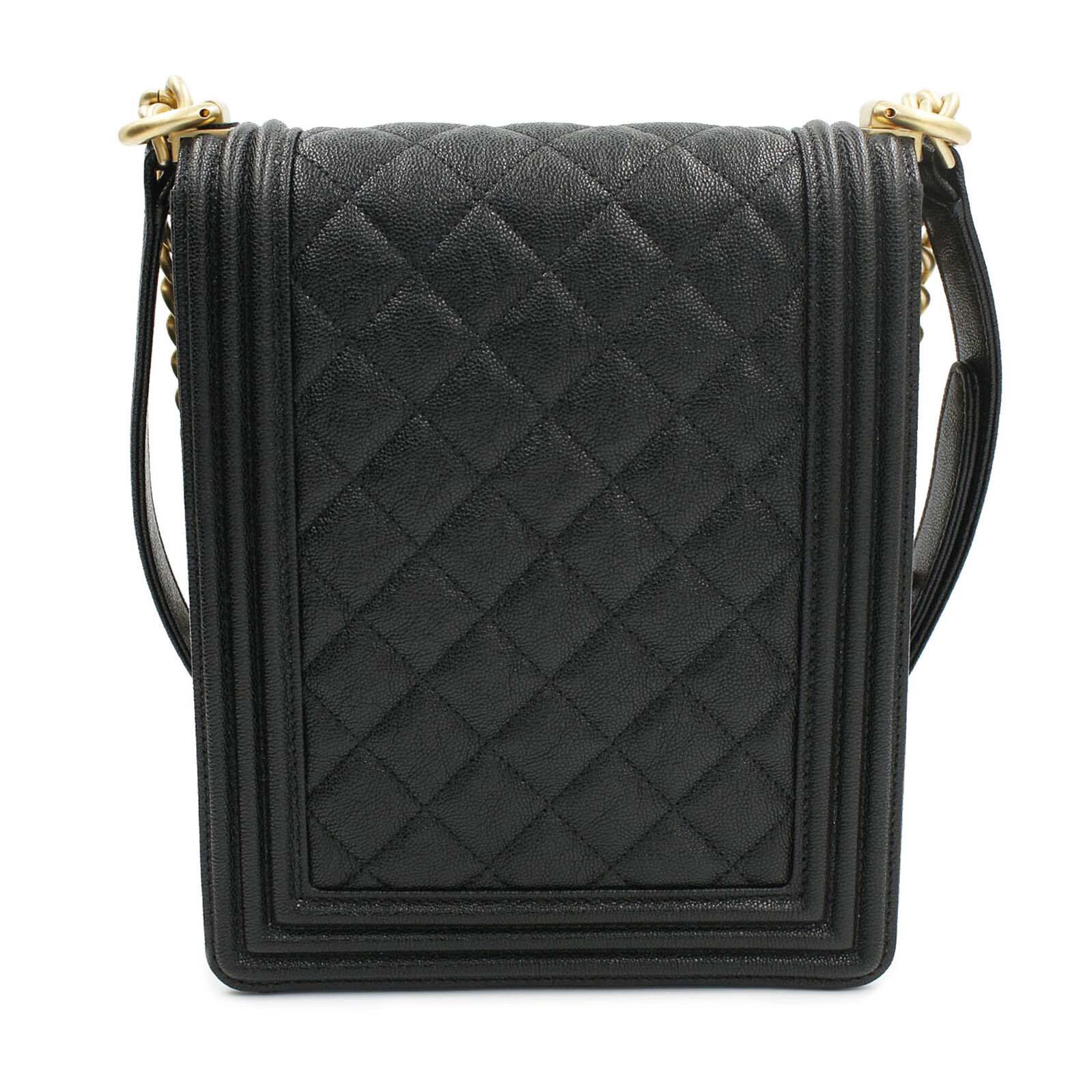 Chanel Black Caviar Quilted North South Boy Flap Bag AS0130 Y83621 94305