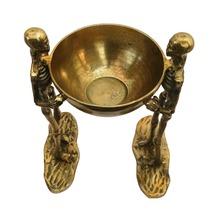 Antique Golden Metal Double Skeleton Statue with bowl - Halloween Decora... - $499.00