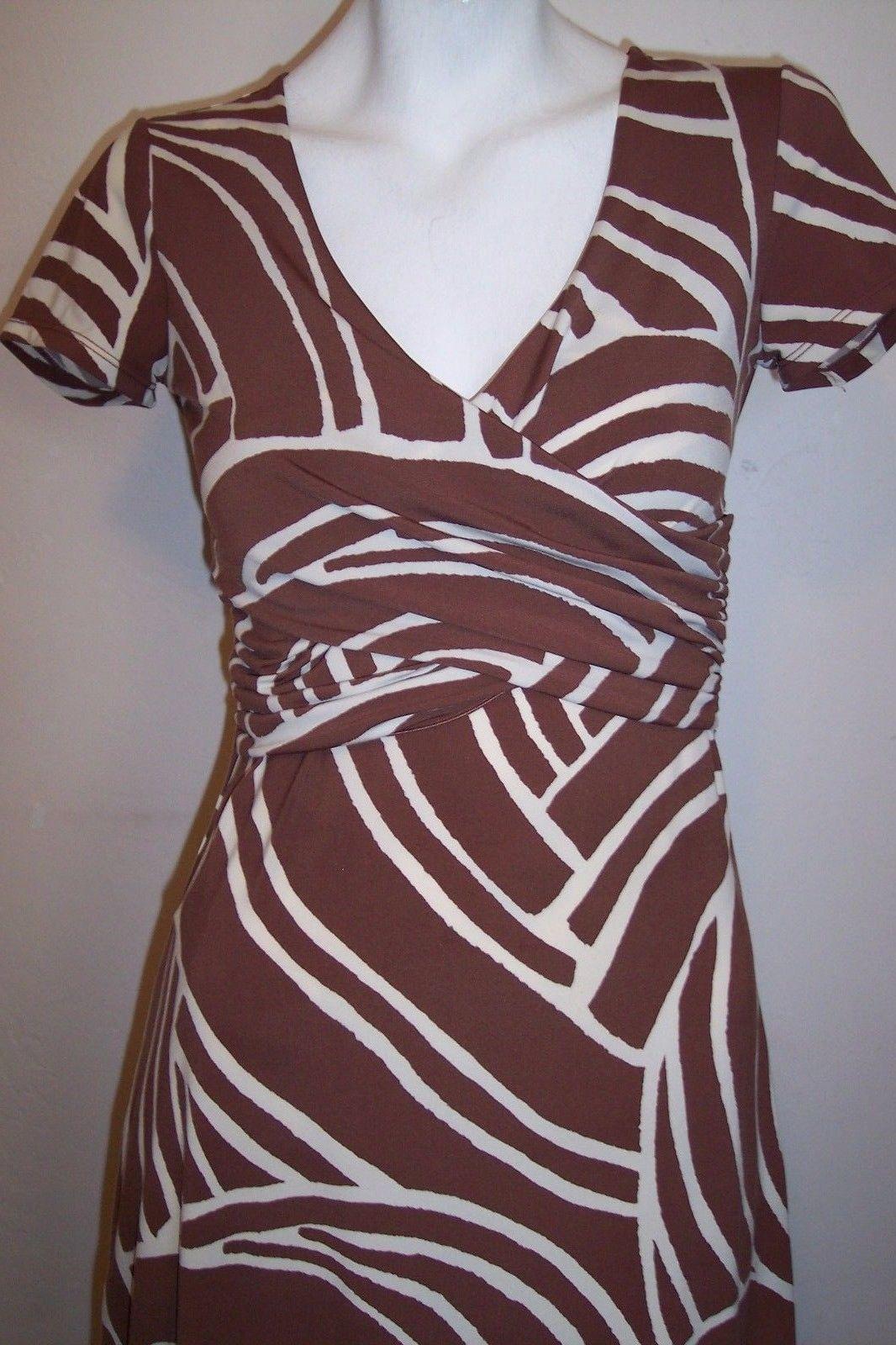 BCBG Dress XS Brown Artsy Stretch Jersey Knit Career Women's