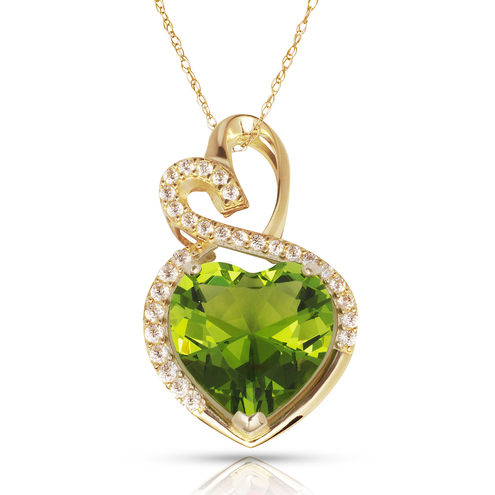 4.20 Carat Halo Blue Peridot Double Heart Gemstone Pendant & Necklace14K Y Gold