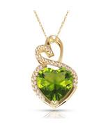 4.20 Carat Halo Blue Peridot Double Heart Gemstone Pendant & Necklace14K... - $173.25