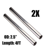 """2Pcs 2.5"""" 63mm T304 Stainless Steel 4FT Straight Exhaust Pipe Tube Pipin... - $118.99"""