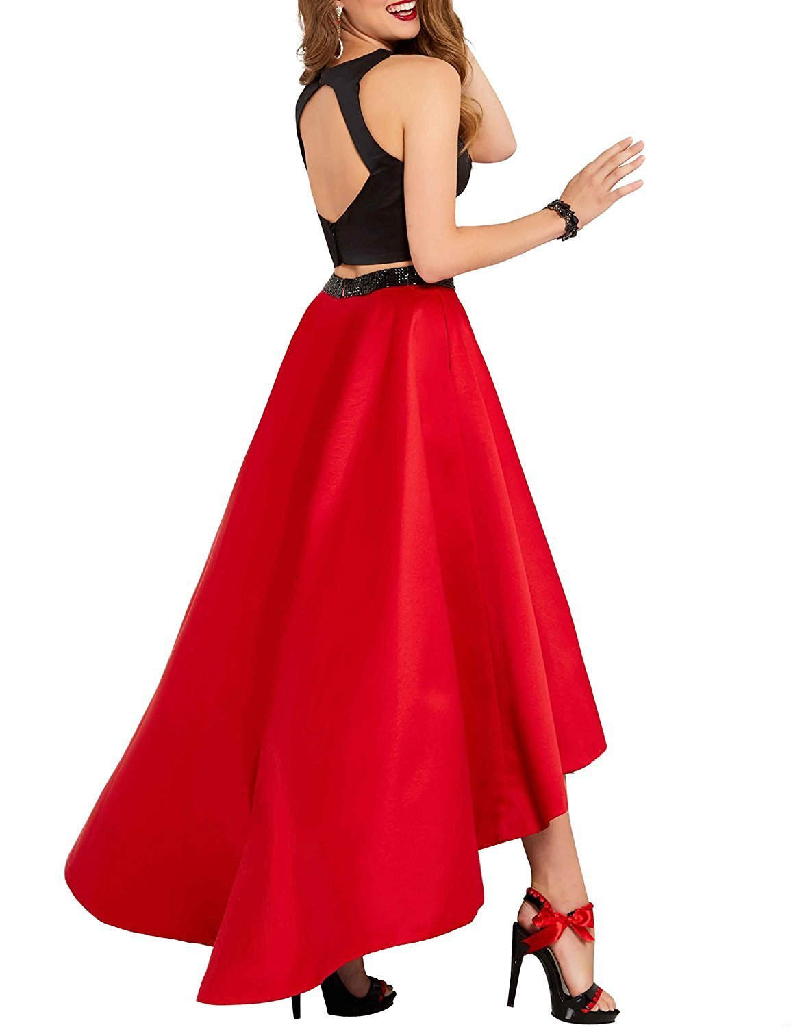 Women's Crew Neck 2 Pieces High Low Prom Dress Satin Beading A-Line Evening Gown