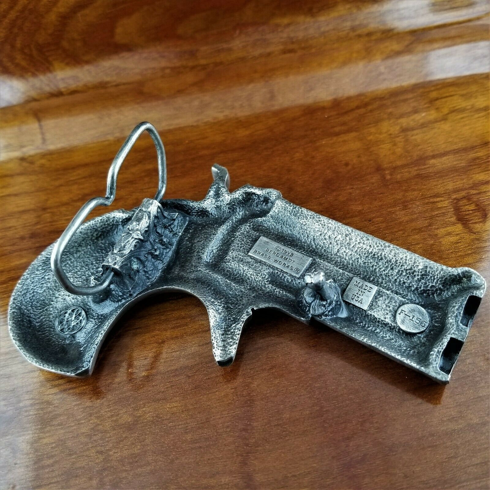 Vintage 1978 Bergamot Brass Works F-156 Derringer Hand Gun Pistol Belt Buckle image 4