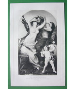 NUDE God & Mortal Woman Cherub by de Nouy - VICTORIAN Era Antique Print - $12.15