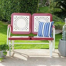 Retro Vintage Style Red White Metal Patio Glider Bench Sofa Settee Outdoor  - $227.20
