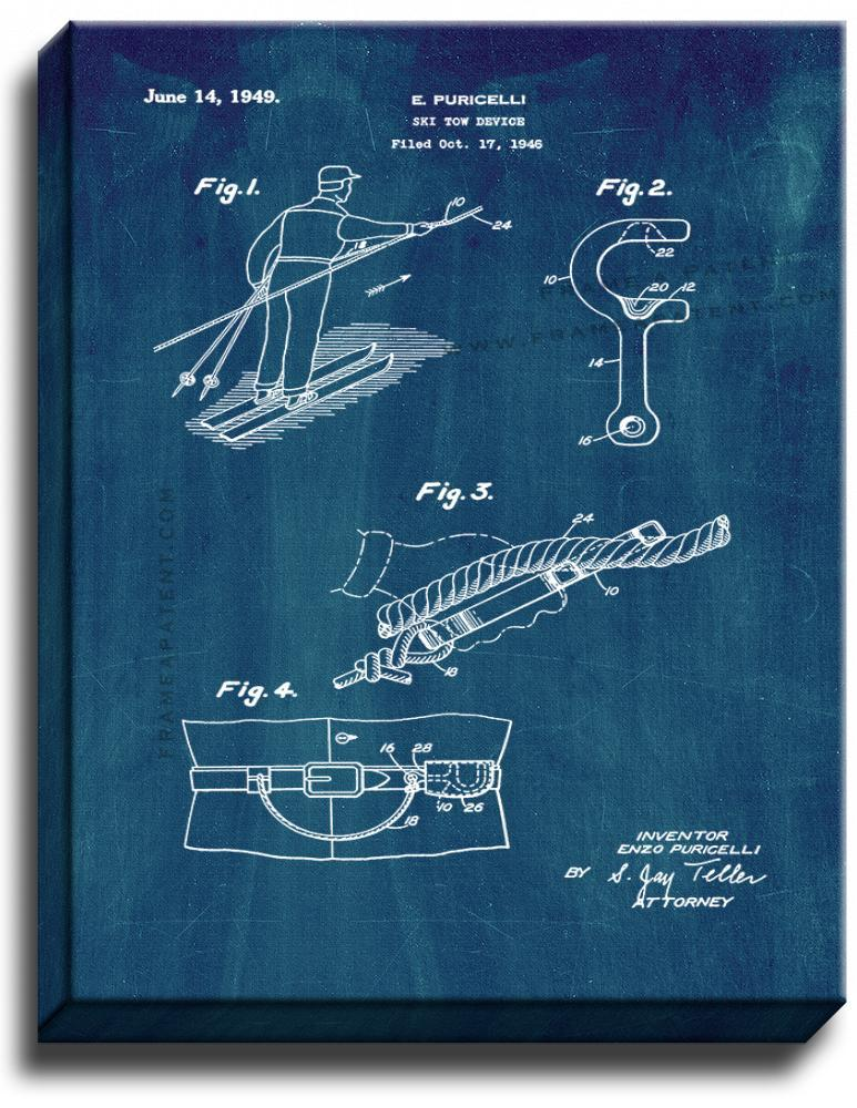 Primary image for Ski Tow Device Patent Print Midnight Blue on Canvas