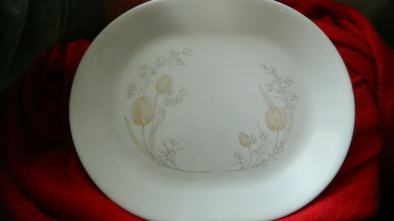 Primary image for CORELLE MISTY MORNING PATTERN OVAL SERVING PLATTER FREE USA SHIP