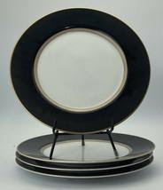 mikasa grandeur black lad03  10 1/2 inch dinner plates lot of 4 - $29.69