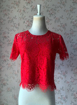 2021 Red Lace Crop Top Short Sleeve Plus Size Wedding Bridesmaid Red Crop Tops  image 2