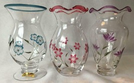 "Lenox Set of 3 Handcut Crystal Vases 6"" Tall Handpainted Flowers with Tags - $18.95"