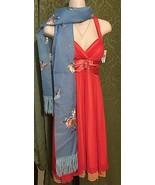 Original Quality Diamond Stoles sheer Blue VINTAGE floral fringe RETRO Wrap - $12.99